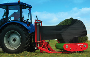Tractor towing Bale Wrappers BW150